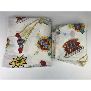 Vintage Rare Captain Planet Flat and Fitted Sheet Set 1991 TBS Twin TV